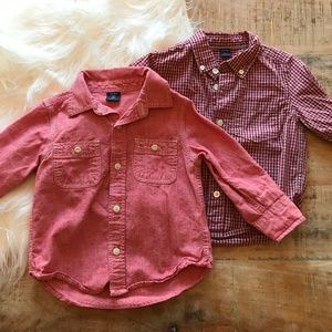 Baby Gap Red Button Down Shirt Bundle 2T